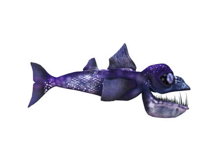 3d scary: 3d render depicting a scary fish which lived during the Cretaceous period, isolated on white. Stock Photo