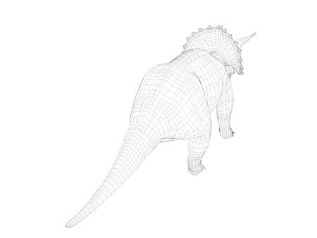 back ground: 3d dinosaur wireframe (lines) isolated on a white back ground Stock Photo