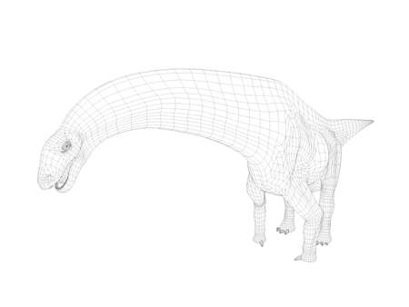 white back: 3d dinosaur wireframe (lines) isolated on a white back ground Stock Photo