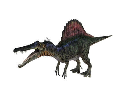 devour: 3d render depicting a dinosaur, which lived during the Cretaceous period, isolated on white.