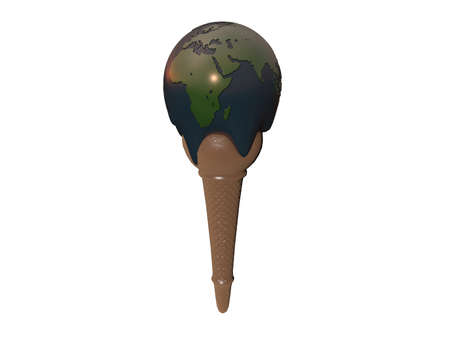 melts: ice cream earth melts - global warming 3d concept Stock Photo
