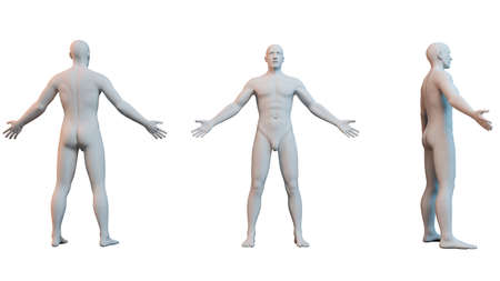 3D white human isolated on white Stock Photo