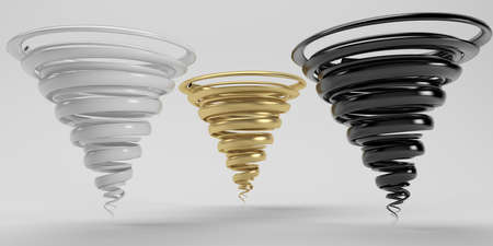 three tornado 3d rendering gold black and white