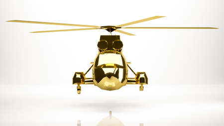 golden 3d rendering of a helicopter inside a studio Stock Photo