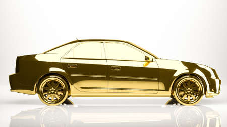reflection of life: golden 3d rendering of a car inside a studio