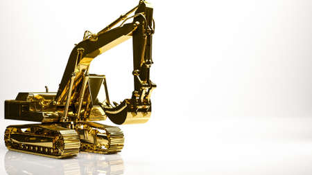 golden 3d rendering of a construction digger inside a studio