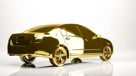 golden 3d rendering of a car inside a studio