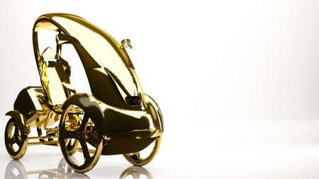 golden 3d rendering of a simple car inside a studio