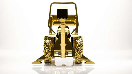 golden 3d rendering of a multi purpose tool car in a studio