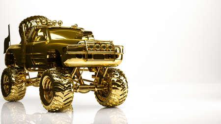 golden 3d rendering of a big car inside a studio Banco de Imagens