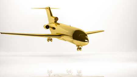 smash: golden 3d rendering of a airplane inside a studio