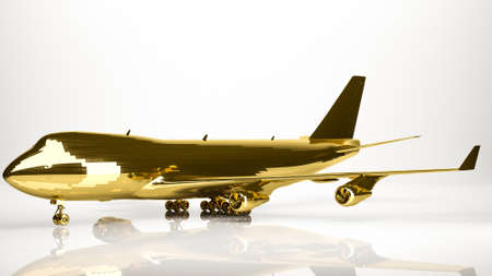 golden 3d rendering of a airplane inside a studio
