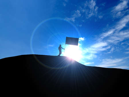 3d illustration business, success, leadership, achievement and people concept - silhouette of businessman with flag on mountain top over sky and sun light background
