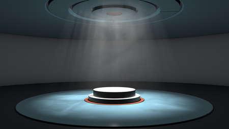 3d illustrazione di un palcoscenico e di una luce