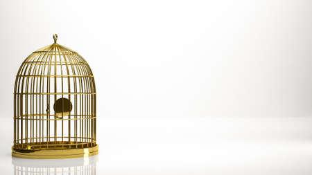Goldene 3D-Rendering eines Käfigs in einem Studio