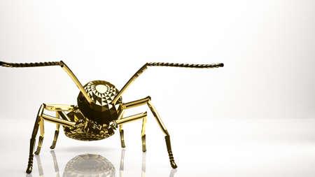 golden 3d rendering of an ant inside a studio