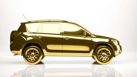 golden 3d rendering of a car inside a studio