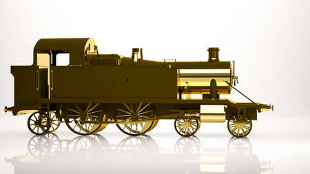 reflection of life: golden 3d rendering of a cargo train inside a studio