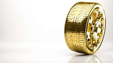 trundle: golden 3d rendering of a wheel inside a studio