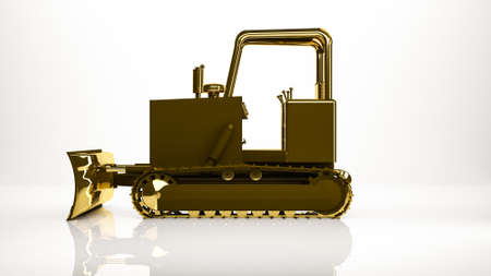 reflection of life: golden 3d rendering of a construction truck inside a studio