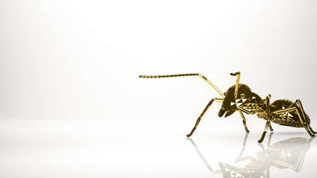 golden 3d rendering of an ant inside a studio Stock Photo - 75162204