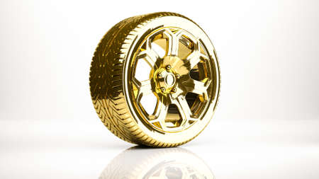 reflection of life: golden 3d rendering of a wheel inside a studio