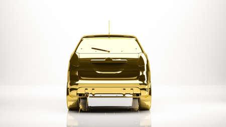 fast money: golden 3d rendering of a car inside a studio