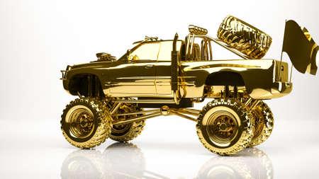 escape: golden 3d rendering of a big car inside a studio Stock Photo