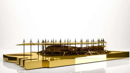 golden 3d rendering of a stadium inside a studio Stock Photo