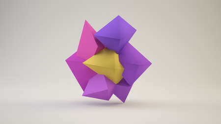 3d illustration of a flower low poly shape