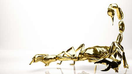avoid: golden 3d rendering of a scorpion inside a studio