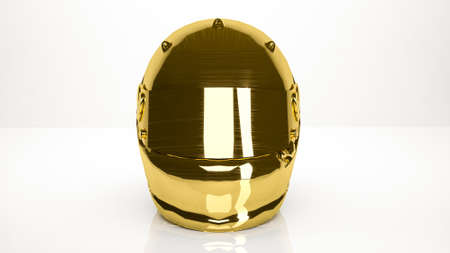 golden 3d rendering of a helmet inside a studio Stock Photo