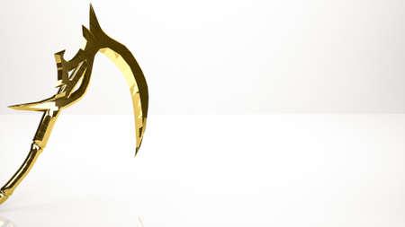 taker: golden 3d rendering of a soul taker inside a studio