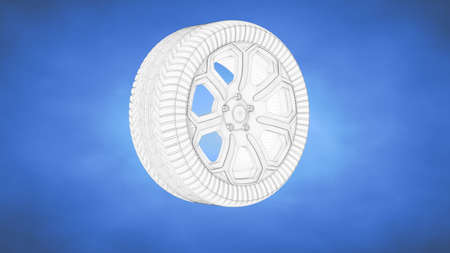 trundle: outlined 3d rendering of a wheel inside a blue studio Stock Photo