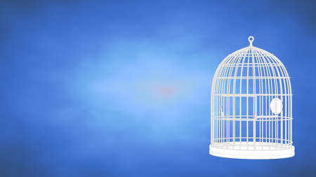 outlined 3d rendering of a cage inside a blue studio Stock Photo