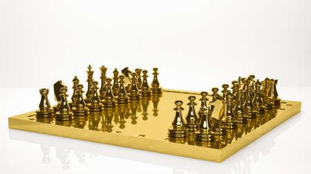 golden 3d rendering of a chess inside a studio