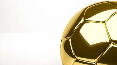 golden 3d rendering of a ball inside a studio