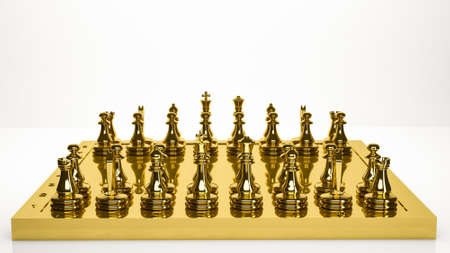 golden 3d rendering of a chess inside a studio