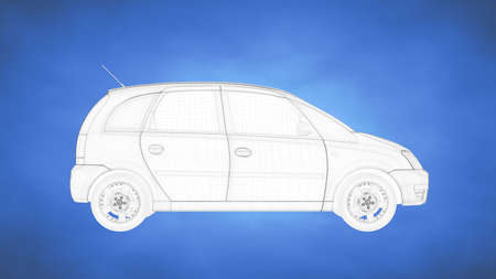 outlined 3d rendering of a car inside a blue studio Stock Photo