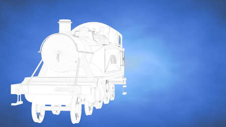 develope: outlined 3d rendering of a train inside a blue studio