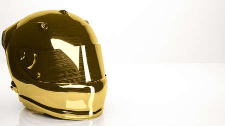 reflection of life: golden 3d rendering of a helmet inside a studio Stock Photo