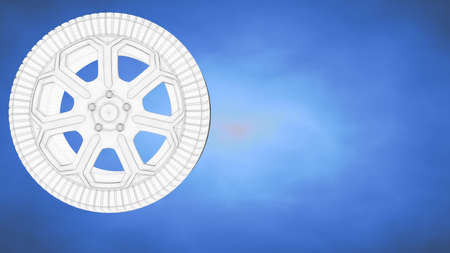 outlined 3d rendering of a wheel inside a blue studio Stock Photo