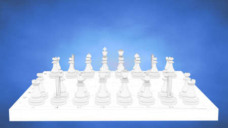 smarter: outlined 3d rendering of a chess inside a blue studio