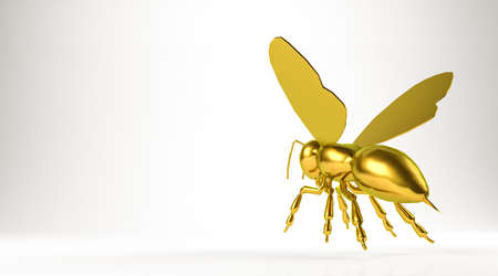 golden 3d rendering of a bee isolated on white Stock Photo