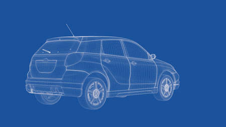 3d rendering of an outlined car