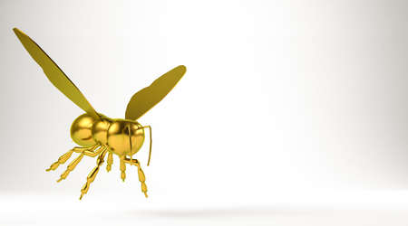 golden 3d rendering of a bee isolated on white Stock Photo - 75082961