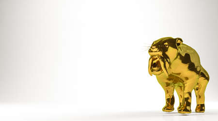 golden 3d rendering of a tiger isolated on white