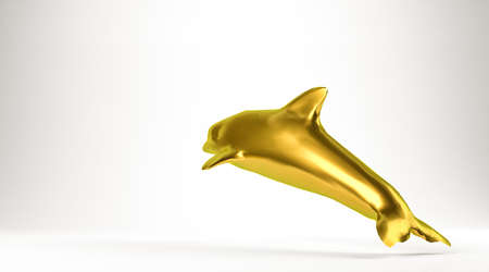 golden 3d rendering of an animal isolated on white Stock Photo