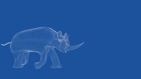 delineation: 3d rendering of an outlined rhino Stock Photo