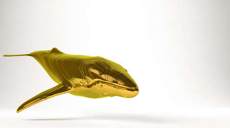golden 3d rendering of a killer whale isolated on white Stock Photo